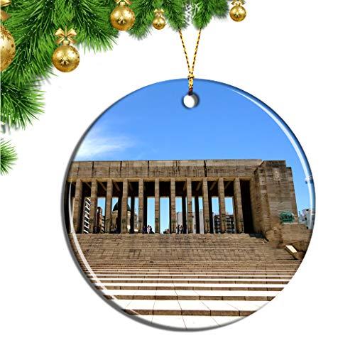 Hqiyaols Ornament Monumento Histórico Nacional Argentina a la Bandera Rosario Navidad Adornos Colgantes Pieza Cerámica Recuerdo Ciudad Viaje Regalo