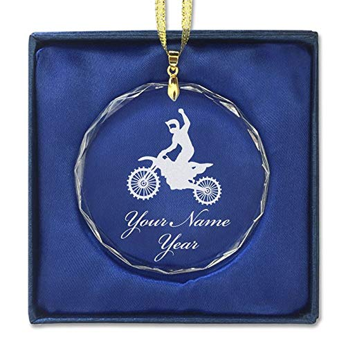LaserGram Christmas Ornament, Motocross, Personalized Engraving Included (Round Shape)