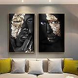 ganlanshu Arte Africano Mujer Negra y Dorada Pintura al óleo Arte de Pared escandinavo,Pintura sin Marco,40X60cmx2