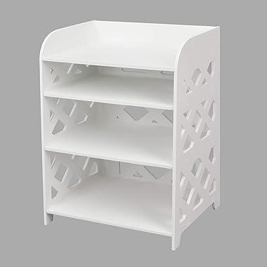 SS ARTS Engineered Wood Decorative Bedside/Lamp Table/Storage Rack/Book Shelf (White)