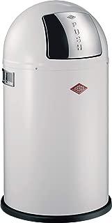 Wesco Pushboy Junior - German Made - Push Door Trash Can, Powder Coated Steel, 5.8 Gallon / 21 L , White