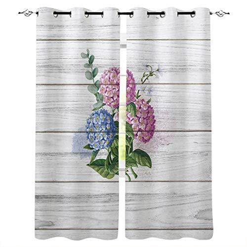 Cortinas opacas con ojales plateados, textura de madera, aislamiento térmico de oscurecimiento para recámara/puerta corredera de cristal rosa Flor. Talla:40x84inx2