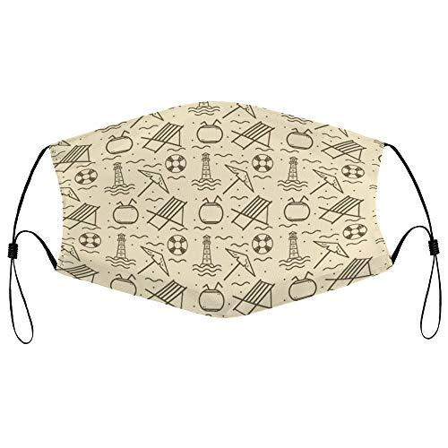 Dkisee Fashion Unisex Staubmaske mit Filterelement, verstellbare Ohrschlaufen, Gesichtsmaske, Outdoor-Schutzmaske (Strandliege-Muster)