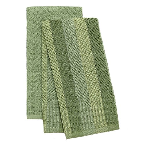 Food Network 2 Pack Sculpted Antimicrobial Kitchen Towels (Green)