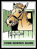パーソナライズされた馬のポニーの子馬の名前安定したドアタックルームメタルサインティンプラーク
