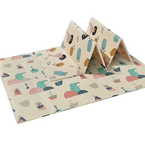XJJUN Suelos De Gimnasio, Alfombra Puzzle Game Pad Antideslizante Bebé Plegable-Estera De Arrastre Bolsa De Almacenamiento, 2 Colores (Color : A, Size : 195x177x1cm)