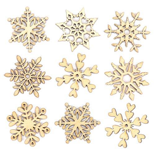 Baker Ross AV677 Mini-Schneeflocken aus Holz – Kreatives Bastelmaterial für Kinder für weihnachtliche Bastelarbeiten und Dekorationen (45 Stück)