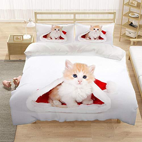 Bedclothes-Blanket Cubierta de la Cubierta del edredón para niños 3D Cubierta de Cama de 3 Piezas Super King Tamaño Animal Cat Blue Eye Eye Eye Funda de Cama con Cierre de cremallera-13_210 * 245cm