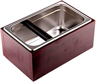 Coving Stainless Steel Knock Box Espresso Dump Bin with Wooden Case Set - 6.8 x 10.8 x 4.7 inch, Large