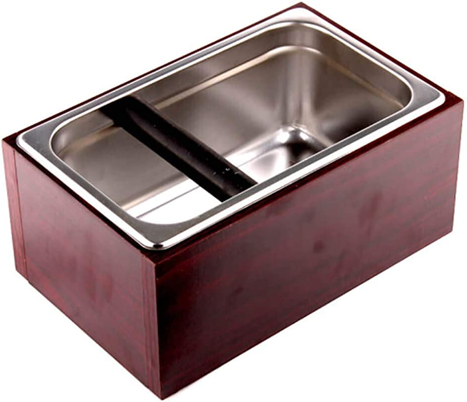 Coving Stainless Steel Knock Box Espresso Dump Bin With Wooden Case Set 6 8 X 10 8 X 4 7 Inch Large