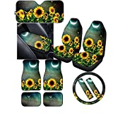 ZERODATE 11 Pcs Moon Sunflowers Car Sunshade Shield,Personalized Car Mats Floor Pads Heavy Duty,2 Pcs Car Seat Covers,Safety Seat Belt Covers,Steering Wheel Cover Car Center Console Cover Gift