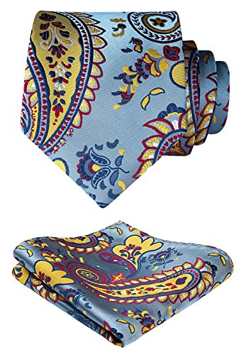 HISDERN Paisley Wedding Tie Handkerchief Woven Classic Men's Necktie & Pocket Square Set Blue & Yellow & Red