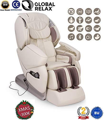 Preisvergleich Produktbild WEIHNACHTEN -300 I NIRVANA® 3D Massagesessel Weiß (Modell 2019) Shiatsu Relaxsessel mit 9 Massagefunktionen Schwerelosigkeit,  Wandfrei,  Magnettherapie,  Ionen - 2 JAHRE Garantie GLOBAL RELAX®