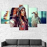 5 Piezas Cuadro sobre Lienzo De Fotos Niña nativa Americana águila Hermosa Lienzo Impresión Cuadros Decoracion Salon Grandes Cuadros para Dormitorios Modernos Mural Pared Listo para Colgar