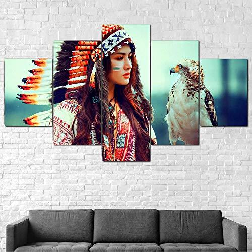 QQWW 5 Piezas Cuadro sobre Lienzo De FotosNiña nativa Americana águila Hermosa Lienzo Impresión Cuadros Decoracion Salon Grandes Cuadros para Dormitorios Modernos Mural Pared Listo para Colgar