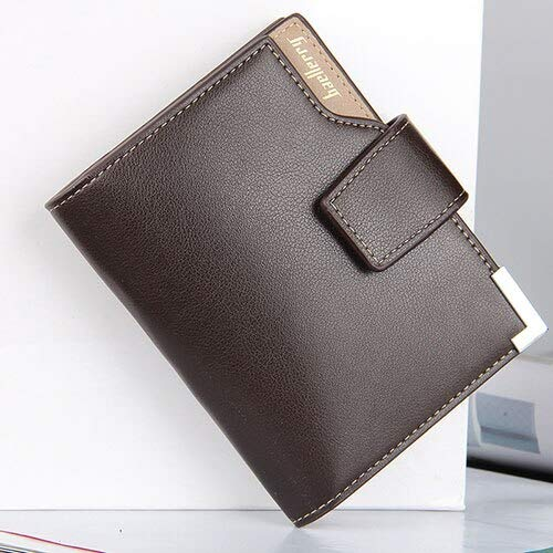 New Business men's wallet Short vertical Male Coin Purse casual multi-function card Holders bag zipper buckle triangle folding-2662 Coffee