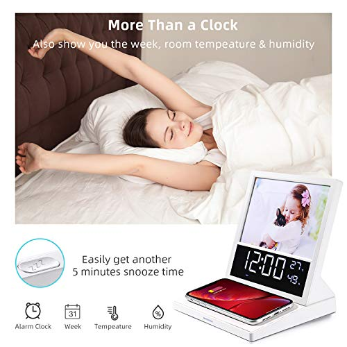 Digital Alarm Clock FM Radio, 15W Wireless Charger Station for iPhone Samsung, Photo Frame, LED Display Thermometer Humidity Calendar, 5 Level Dimmer, Large Digital Clock with Night Light for Bedside