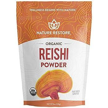 USDA Certified Organic Red Reishi Mushroom Powder 8 Ounces Non GMO Gluten Free Packaged in California Ganoderma Lucidum / Lingzhi