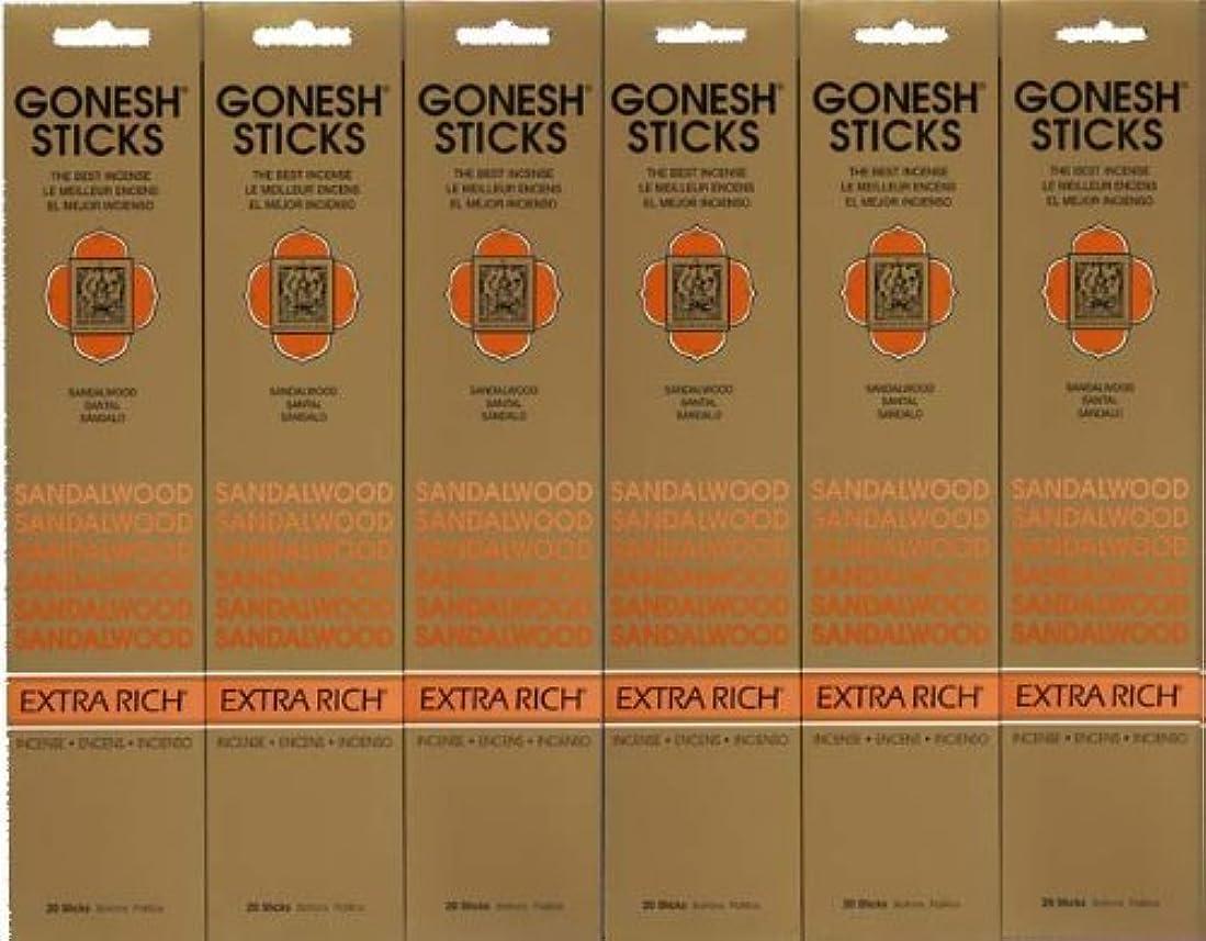 耐久自動報酬のGONESH SANDALWOOD サンダルウッド 20本入り X 6パック (120本)
