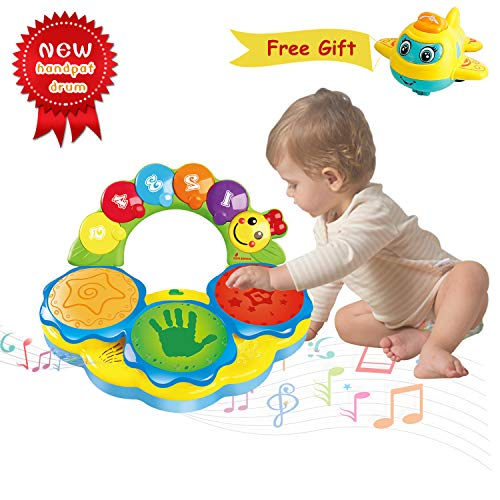 Portable Musical Drums Piano Musical Instrument Baby Toys 6 to 12 Months Early Education Music/Lights/Funny Sounds Toys for 12 3 4 Year Old Boys Girls Toddlers Kids- Come with a Mini Airplane