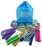 Deluxe Jump Ropes 7-Foot (7') Pink, Green, Purple & Blue Gift Set Party Bundle with Bonus Matty's Toy Stop Storage Bag - 4 Pack