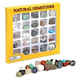 Migaven 25PCS Irregular Natural Stone Gemstone Rock Educational Collection Set for Kids Students Adults Gifts Home Office Decorations