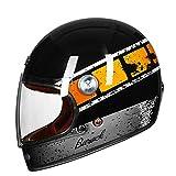 Dgtyui Casco Casco motocross in fibra di vetro completo Casco moto vintage retrò ultraleggero portatile con fibbia ad anello a doppia D - ArancioX XL