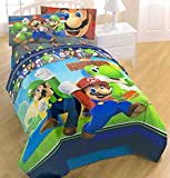 Franco Kids Bedding Microfiber Twin Comforter and Sheet Set - Super Mario Brothers - 100% Polyester