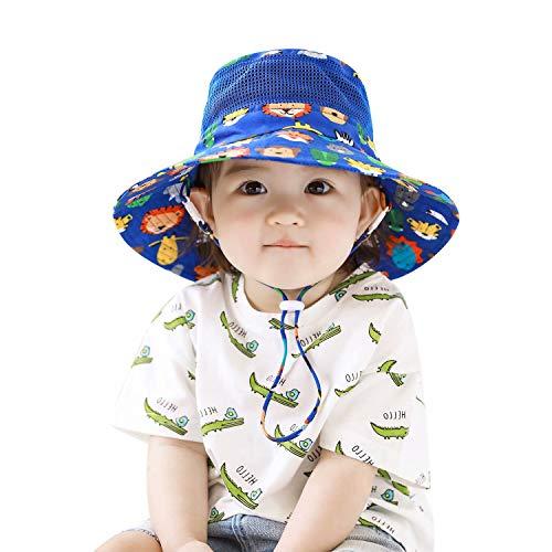Home Prefer Toddler Boys Sun Hat UPF50+ Wide Brim Mesh Bucket Hat UV Protective Caps Zoo 1-2 Years