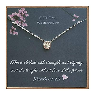 EFYTAL Small Cross Necklace for Women and Girls, Christian Gifts for Easter, First Communion Confirmation Baptism, Sterling Silver CZ Circle, Tiny Pendant Jewelry, Religious Gift for Catholic Birthday