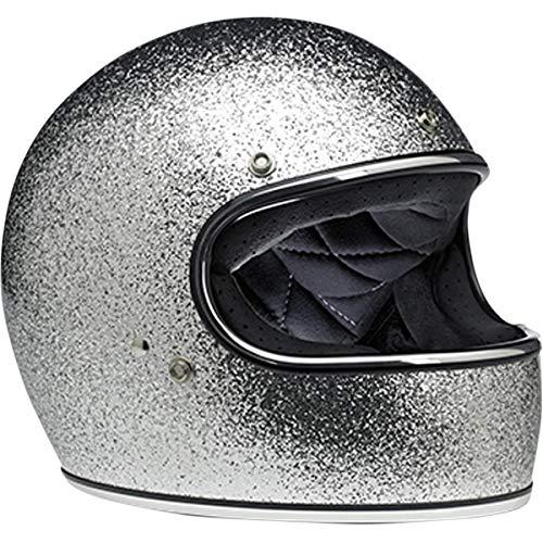 Biltwell Inc. Gringo Solid Helmet Brite Silver Mega Flake (Silver, Small)