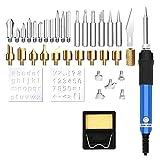 Kit de bolígrafo de pirografía de 36 piezas, 60 W, temperatura ajustable, 32 accesorios de quema de madera multifunción para soldar grabados y manualidades, herramientas de tallado en cuero