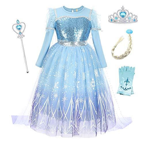 O.AMBW Cosplay Frozen 2 Reina Elsa Disfraz Princesa Anna Conjunto Disfraces y Accesorios Vestido con Capa Vestido de Novia Niña Flor Carnaval Halloween Regalo Navidad Reyes para niñas 2 a 9 años