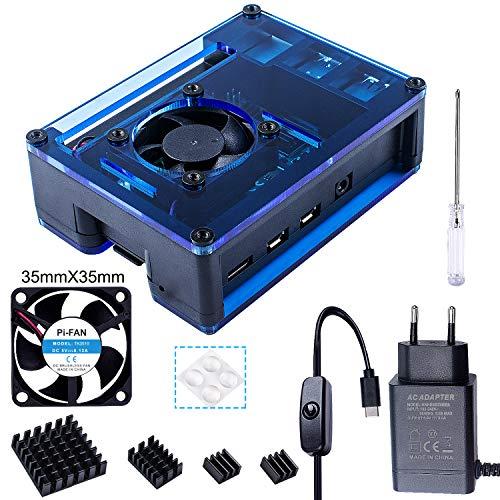 Bruphny Caja para Raspberry Pi 4 con 35mm Ventilador, Cargador de 5V / 3A USB-C, 4 X Disipador, Compatible con Raspberry Pi 4 Modelo B (Gran Ventilador y Disipadores) - Negro y Azul