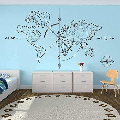 Wandtattoo Schlafzimmer Weltkarte Kompass Erde Wandaufkleber Büro Klassenzimmer Weltkarte Reisen Globale Erkundung Abenteuer Wandtattoo Vinyl