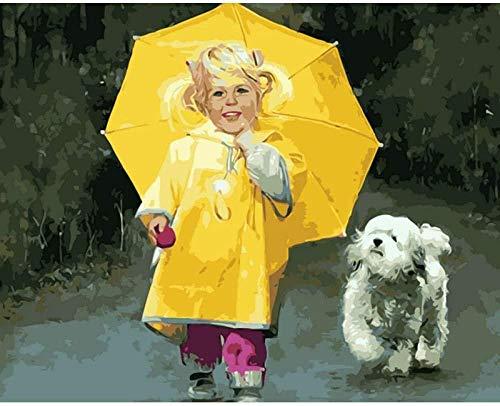 Verf door cijfers voor volwassenen en kinderen DIY Handgeschilderde olieverfkits Pre-Printed Canvas Art Home Decoratie -Geel Paraplu (40 * 50CM Zonder Frame)
