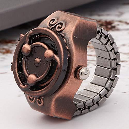 Reloj con anillo de cuarzo con cubierta abatible de estilo Anime Vintage, reloj con anillo de dedo, movimiento de cuarzo para hombres, correa de reloj elástica para hombre(Naruto Red Ancient)