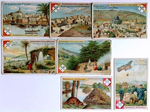 Ackermann's Schlüsselgarne, Nähgarne, Häkelgarne und Stopfgarne - 8 lithographische Kaufmannsbilder