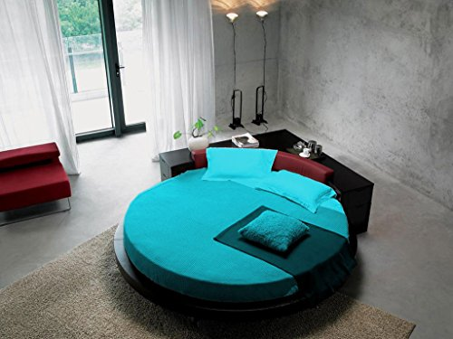 Scala Bedding Scalabedding Drap-housse rond 100 % coton égyptien 400 fils Turquoise 213,4 cm
