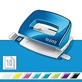 Leitz 50601036 kleiner Locher (10 Blatt, Anschlagschiene mit Formatvorgaben, Metall, WOW) metallic blau