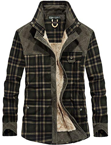 Flygo Men's Casual Long Sleeve Fleece Sherpa Lined Flannel Plaid Shirt Jacket (Medium, Dark Green)