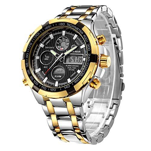 Golden Hour Reloj de Pulsera analógico Digital de Acero Inoxidable para Hombres y Hombres al Aire Libre, Resistente al Agua, Gran Reloj de Pulsera (Silver Gold Black)