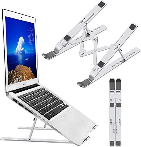 Laptop-Ständer, Universal, belüftet, Desktop-Laptophalterung, tragbar, faltbar, mit 7 Winkeln in der Höhe, verstellbar, rutschfeste Aluminium-Laptophalterung (Silber)