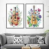 HXLZGFV Música de Guitarra con Flor Arte de la Pared Pintura en Lienzo Carteles de Estilo nórdico e Impresiones Imágenes de Pared para la decoración de la Sala de estar-40x60cmx2Pcs-Sin Marco
