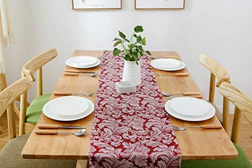 Swanson Home Edler Tischläufer der Kollektion Jacquard im Vintage Muster. Hochwertiger Stoff und Abwaschbar. (Rot, 140 x 40 cm)