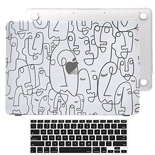 Hard Case for MacBook Pro 13 inch 2016-2020 Model A2289 A2251 A2159 A1989 A1706 A1708 w.Touch Bar Retina Display Rubberized Painting Art Print Protect Cover+Keyboard Skin (Abstract Face(Seen-through))