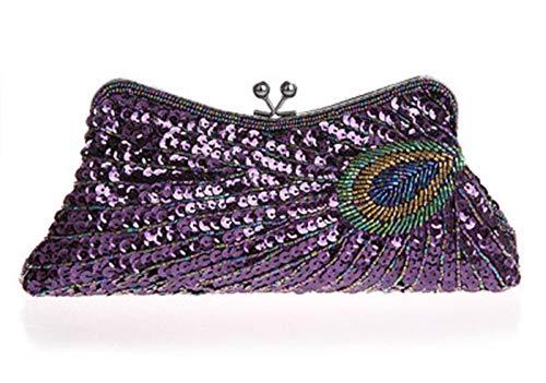 Peacock Clutch ketting zak pakket bruidsmeisje jurk pailletten overhandigen diagonaal pakket,Purple