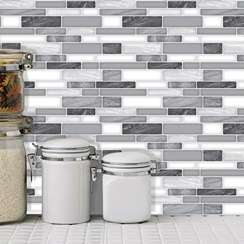 Art3d 10-Sheet Self Adhesive Backsplash, 12 in. x 12in. Grey Marble Design 3D Wall Panels