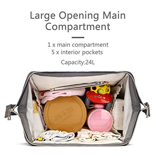 HaloVa Diaper Bag Multi-Function Waterproof Travel Backpack Nappy Bags for Baby Care, Large Capacity, Stylish and Durable, Gray