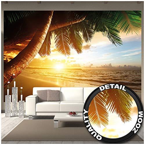 GREAT ART Fototapete – Sonnenuntergang am Meer – Wandbild Dekoration Karibik Palm Beach Paradies Strand Sonne Urlaub Reisen Natur Insel Wandtapete Fotoposter Wanddeko (336 x 238 cm)